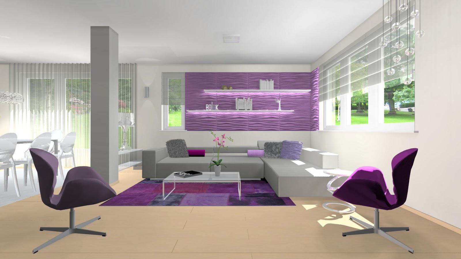 Otthon és Dekor: Egy modern lakás lilában: nappali, étkező, konyha ...
