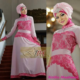 Model Busana Gamis Batik Kombinasi Brokat Modern Terbaru 2016