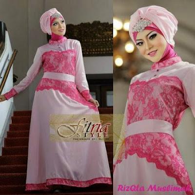 Model Busana Gamis Batik Kombinasi Brokat Modern