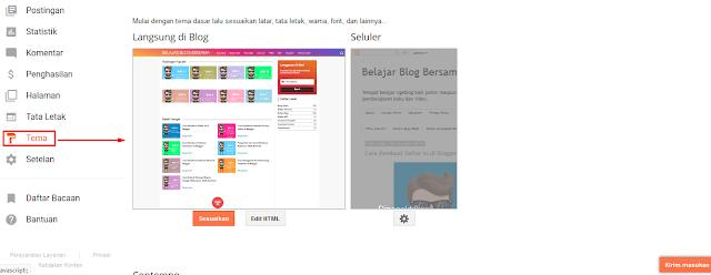 Mengenal Menu-Menu Di Blogger Beserta Fungsinya Dengan Cepat - Menu Tema Di Blogger