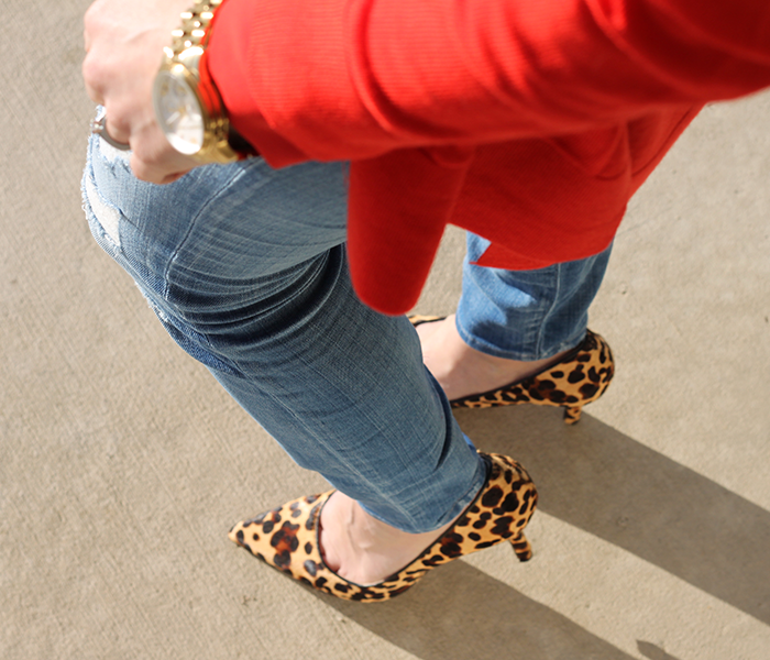LOFT, how to wear red, leopard pumps, distressed denim