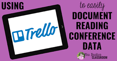 "iPad with text, ""Using Trello to easily document reading conference data."""