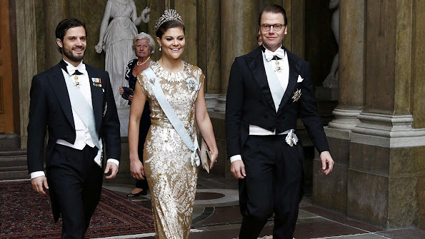 Queen Silvia, Crown Princess Victoria attended an official dinner at the Royal Palace in Stockholm