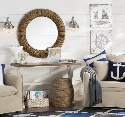 Nautical Decorating Idea with Round Rope Mirror