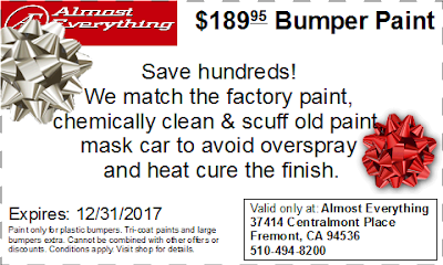Discount Coupon $189.95 Bumper Paint Sale December 2017