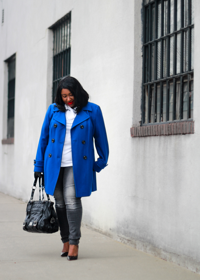 HOW TO WEAR BLUE COAT PLUS SIZE