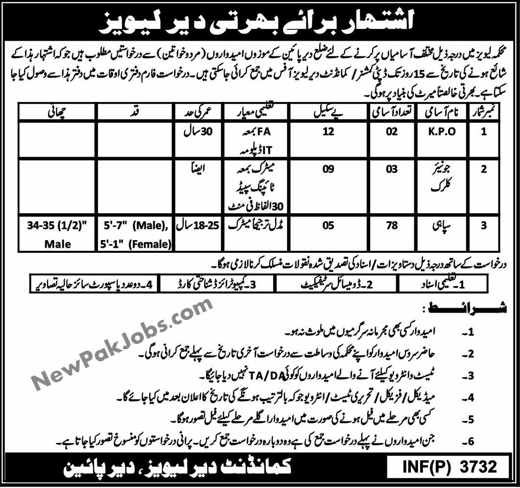 Govt Jobs in Dir Pine Levies Force