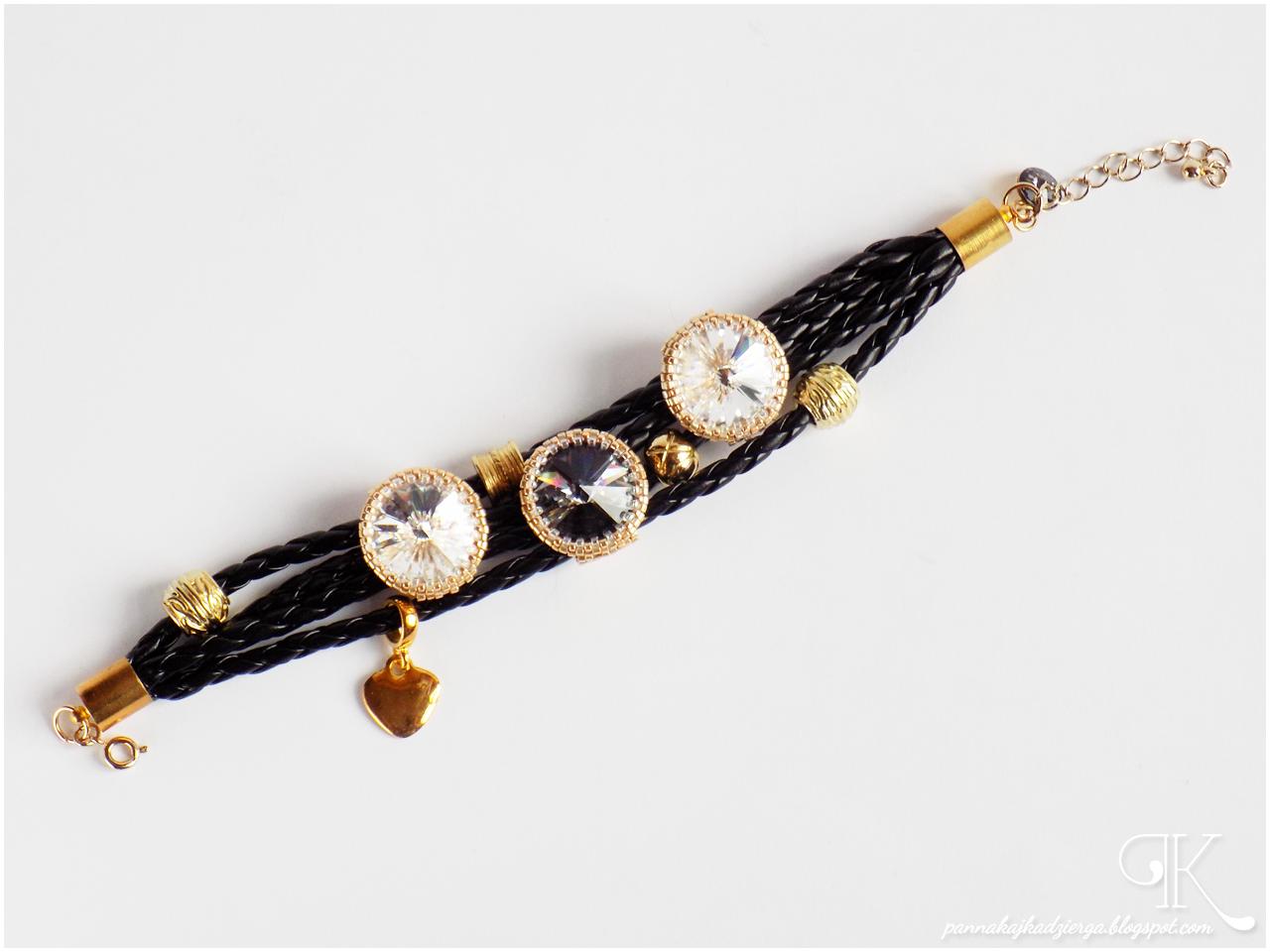bransoletka, handmade, rękodzieło, bracelet, czerń, złoto, elegancja, miyuki, swarovski, rzemień, przekładki