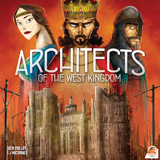 The cover art for Architects of the West Kingdom. The top half is a painting of a king, a battle-scarred knight, and a noblewoman, all looking at the viewer. The bottom half is a Gothic cathedral midway through construction, covered with scaffolding and surrounded by wooden cranes. The painting is done in a moderately cartoon-y style that has more of an avant-garde feel than a childish feel.