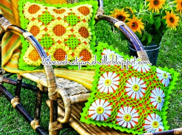 Margaritas y girasoles en almohadones crochet