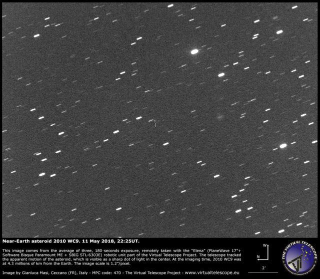 Asteroide 2010 WC9 registrado por Gianluca Masi em 11 de maio de 2018