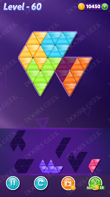 Block! Triangle Puzzle 5 Mania Level 60 Solution, Cheats, Walkthrough for Android, iPhone, iPad and iPod