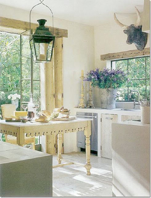 French farmhouse kitchen with antiques and rustic elegance by Pamela Pierce