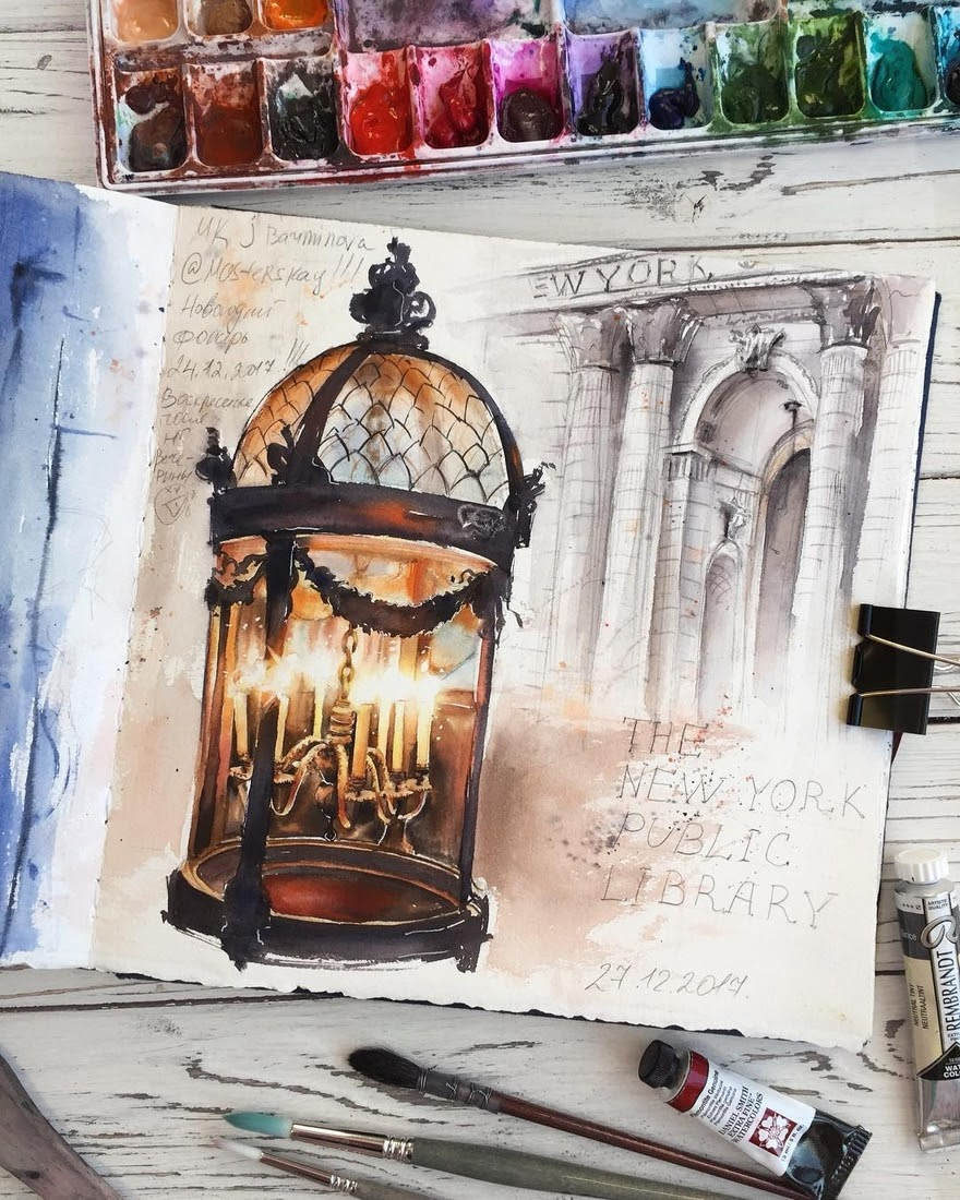 01-Candle-Light-Lamp-Alena-Ponkratova-Street-Lamps-Oil-Lamps-and-Candle-Light-Lamps-Watercolors