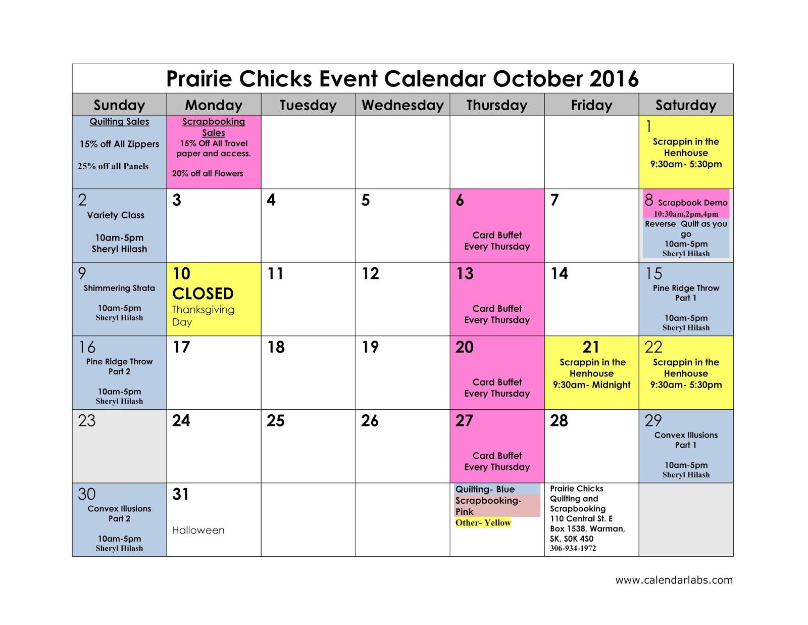 Event Calendar 2016 : Prairie chicks october event calendar and a few new