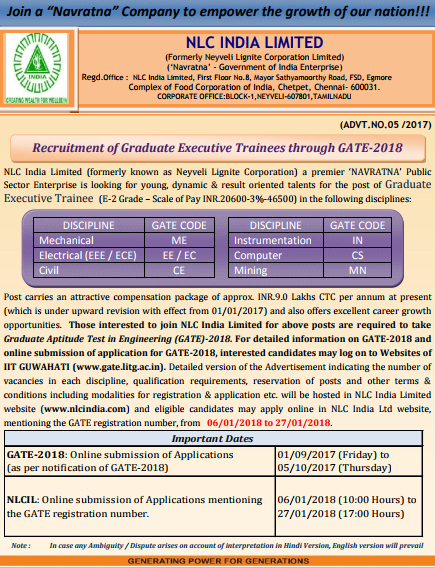 NLC Recruitment Through GATE For Graduate Executive Trainees