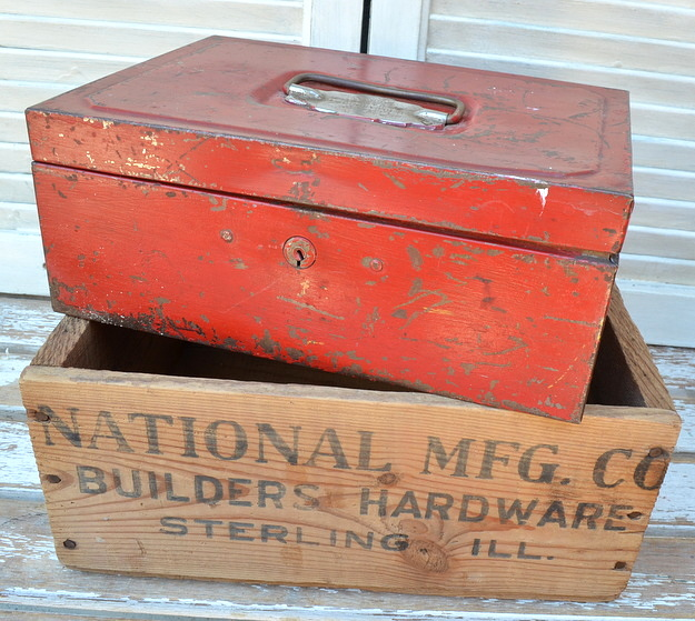 chippy red metal box and National Mfg. Co. builders hardware crate