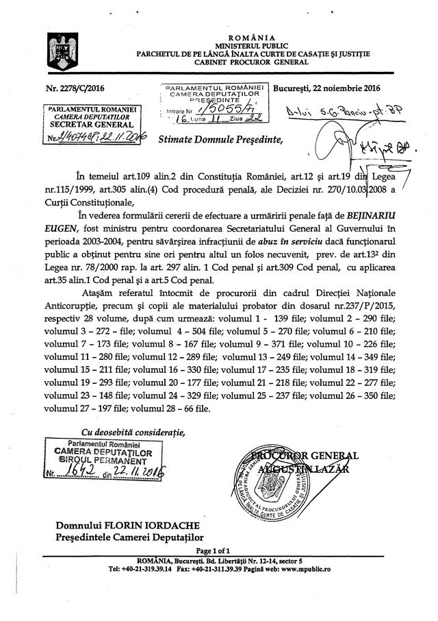 Anchetarea lui Eugen Bejinariu ar putea fi votată astăzi, de la 15.00, în plenul Camerei Deputaților