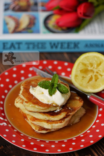 Lemon yogurt pancakes with lemon drizzle