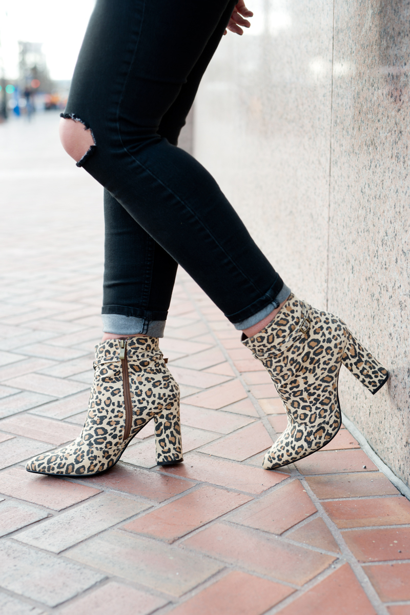 distress skinny jeans and cheetah booties