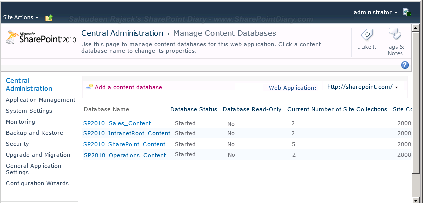 get all content databases of a web application