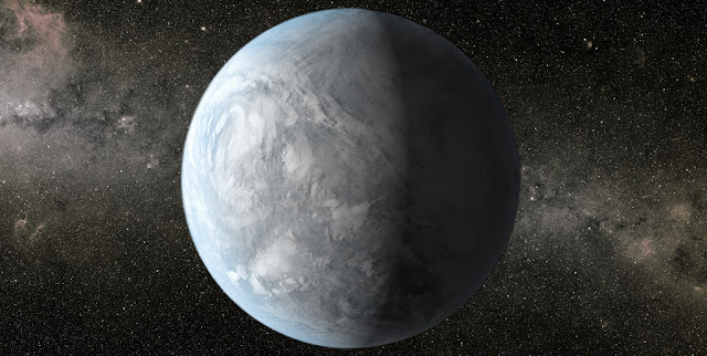 "New research from the University of Washington-based Virtual Planetary Laboratory will help astronomers better identify and rule out ""false positives"" in the ongoing search for life. Shown is a NASA illustration of Kepler 62E, about 1,200 light-years away in the constellation Lyra. Credit: NASA"