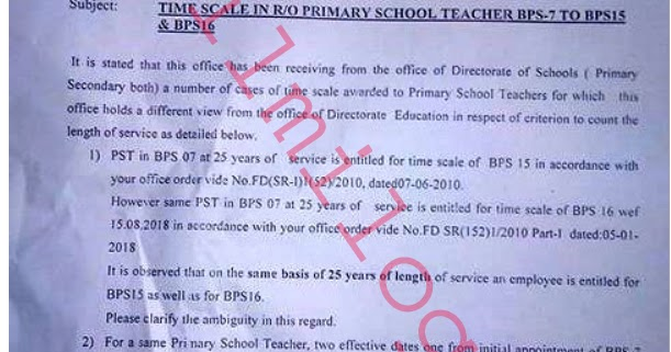 Primary School Teacher Salary after Time Scale Promotion in