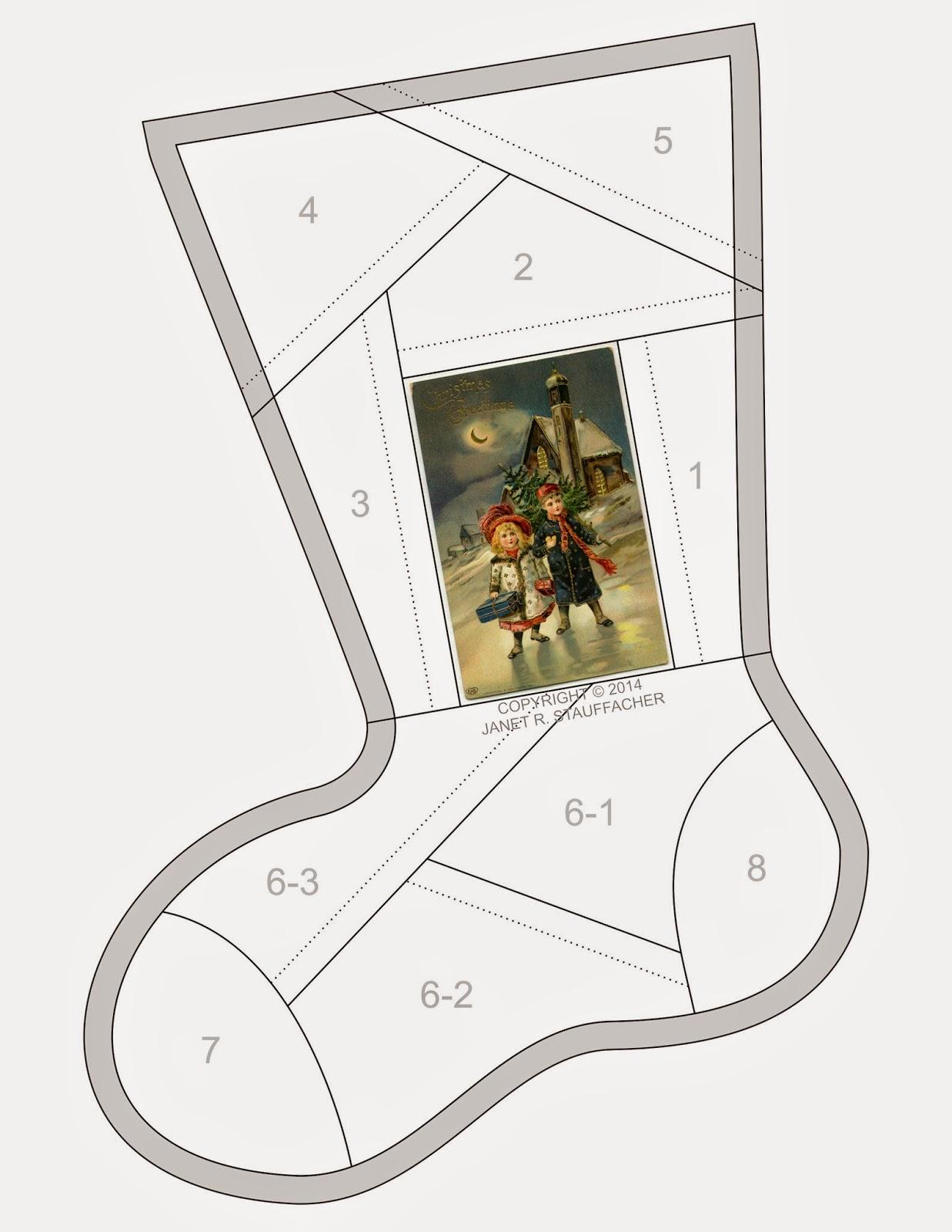 Crazy Quilt Stocking Pattern 119