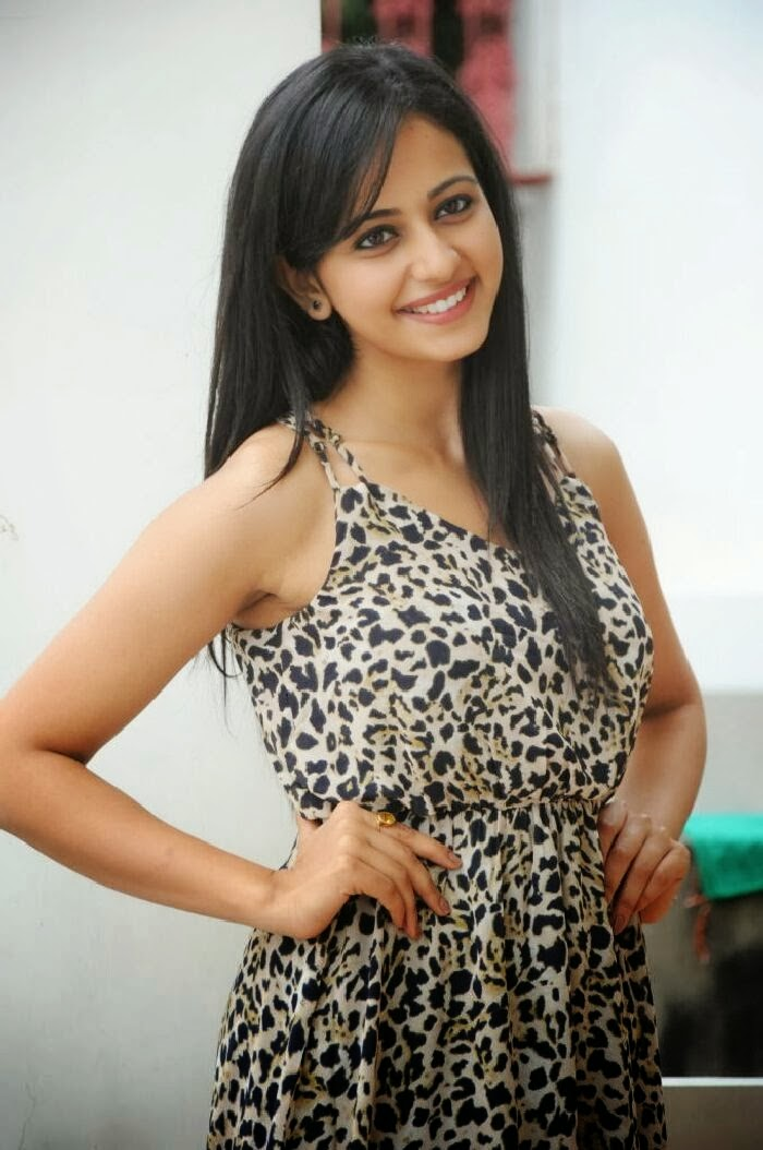 Hot Tollywood Actress Rakul Preet Singh Smiling Face In Black Dress