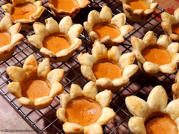 Pumpkin Pie Flowers on Cooling Rack from Walking on Sunshine Recipes