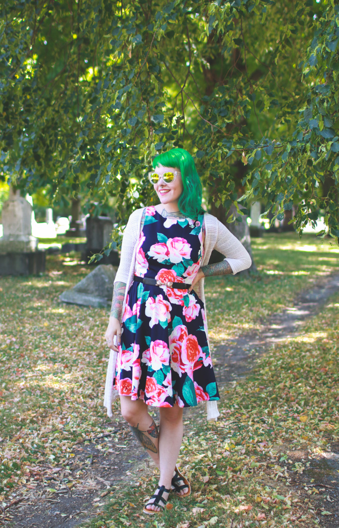 dainty squid, green hair, what I wore, cleveland fashion blog