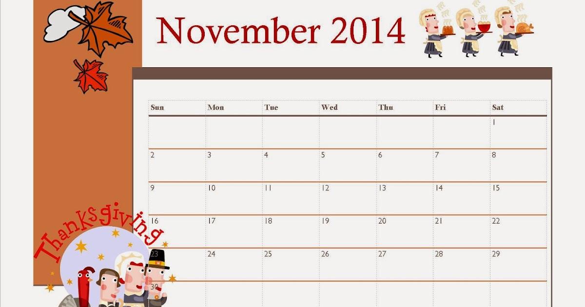 Free Printable November 2014 Calendar For Kids ...