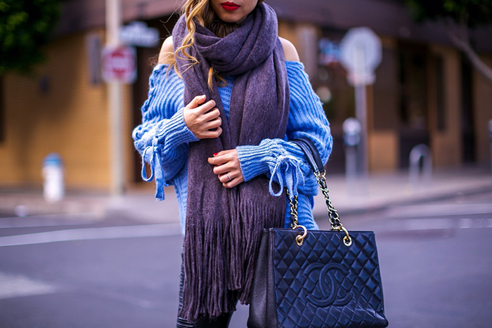 chicwish Asymmetric Lace up Shoulder Sweater in Blue, lace up sleeves sweater, moto pants, velvet ankle boots, chanel grand shopping tote, seafolly sunglasses, free people scarf, holiday outfit ideas, san francisco street style, san francisco fashion blog, holiday sale, holiday gift shopping