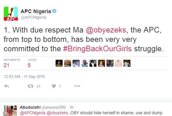 Oby Ezekwesili reminds APC of their 2014 tweet