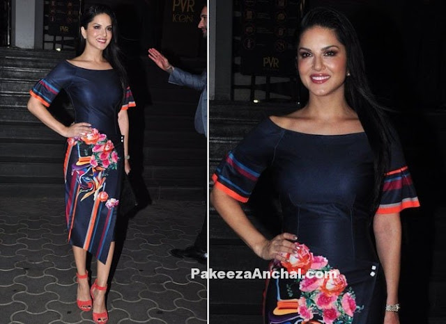 Sunny Leone in Floral Print Blue Boat Neck Dress