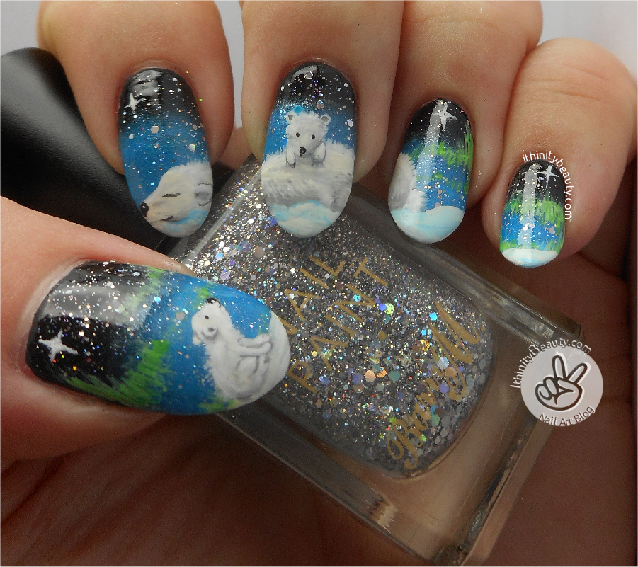 Freehand Polar Bear Family | IthinityBeauty.com Nail Art Blog
