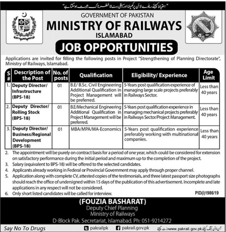 Ministry Of Railways Jobs October 2019
