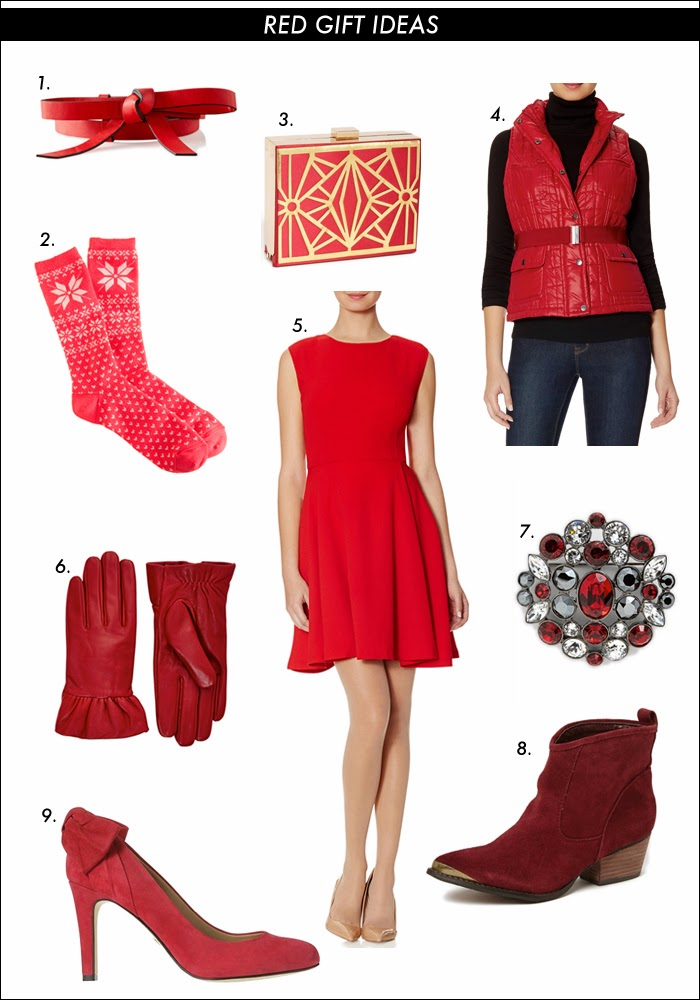 red gift ideas, fair isle socks, puffer vest, box clutch, statement brooch, flare mini dress, bow belt, red leather gloves, bow pumps, ann taylor, the limited, nordstrom, gift ideas, holiday shopping