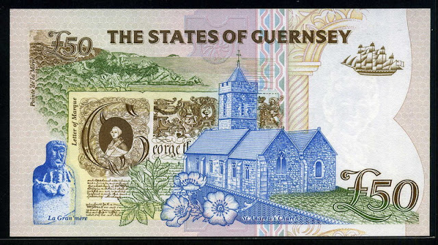 British banknotes Guernsey 50 pounds banknote bill