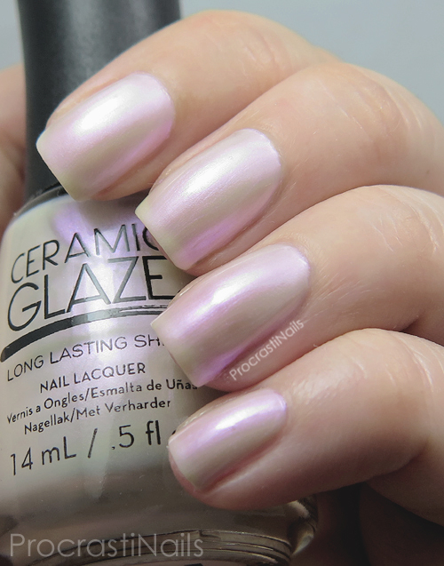 Swatch of the iridescent white pearl Ceramic Glaze Heavenly