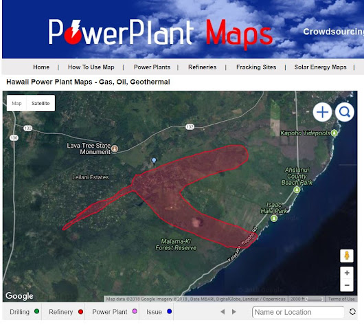 Map of Hawaii Volcano Lava Near Geothermal Power Plant