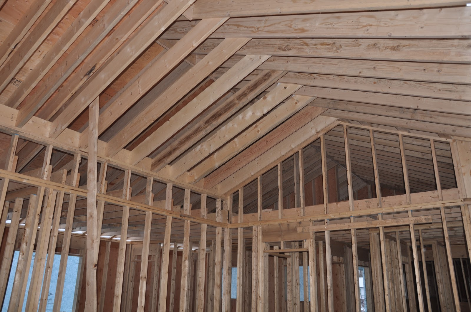 Serendipity refined blog farmhouse construction update for Cathedral ceiling trusses