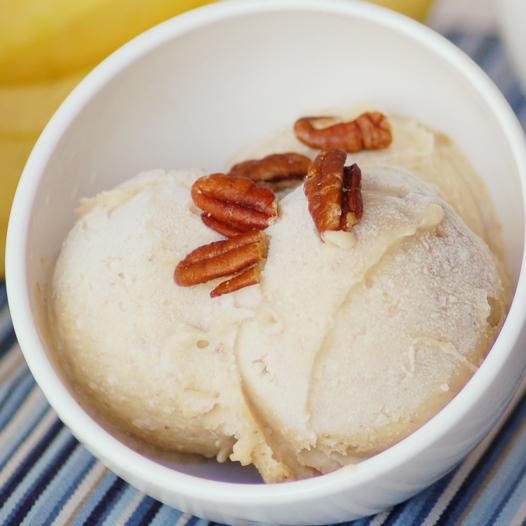 Frozen banana ice cream with pecans