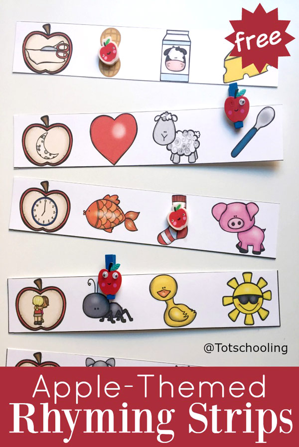 FREE printable Apple themed rhyming activity for preschoolers, perfect for Fall or Back to School. What a fun literacy activity that also works on fine motor skills, speech and vocabulary.