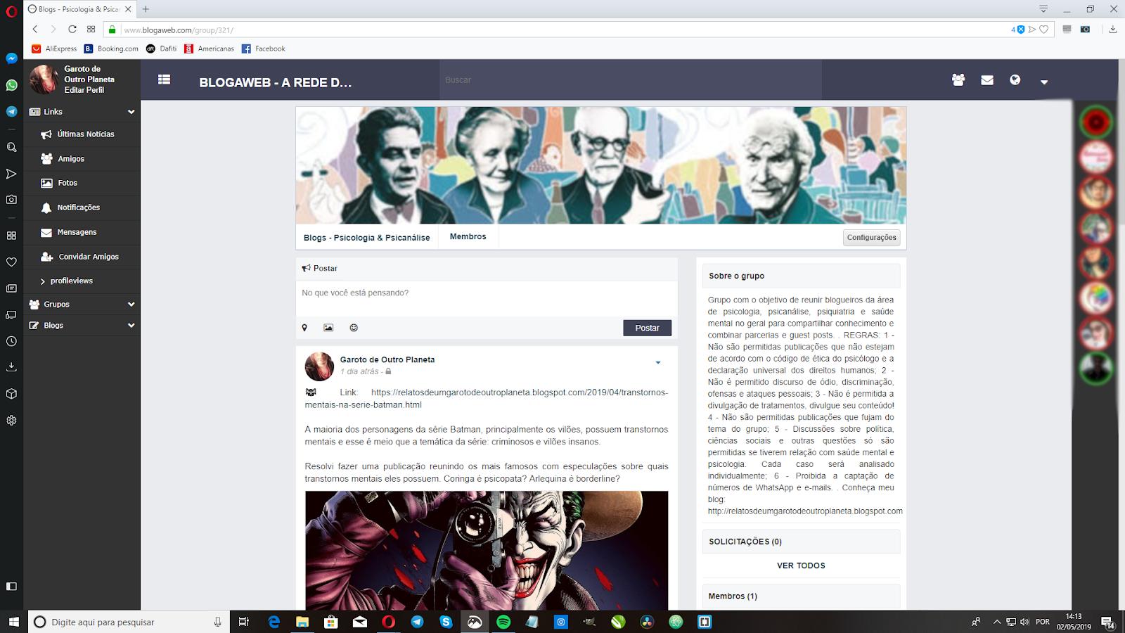Grupo 'Blogs - Psicologia e Psicanálise' na BlogaWeb