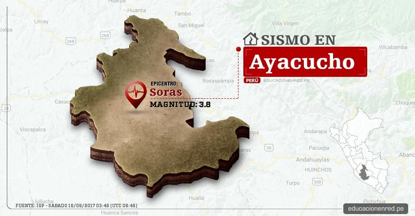 Temblor en Ayacucho de 3.8 Grados (Hoy Sábado 16 Septiembre 2017) Sismo EPICENTRO Soras - Sucre - IGP - www.igp.gob.pe