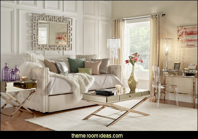 Tufted Daybed  Hollywood glam themed bedroom ideas - Marilyn Monroe Old Hollywood Decor - Hollywood Vanity Mirrors - Hollywood theme decor- decorating Hollywood glam style bedrooms - Hollywood glam furniture  - Hollywood At Home - Lighted Make-up Vanity - mirrored furniture