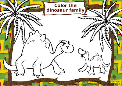 dinosaur family coloring page for esl