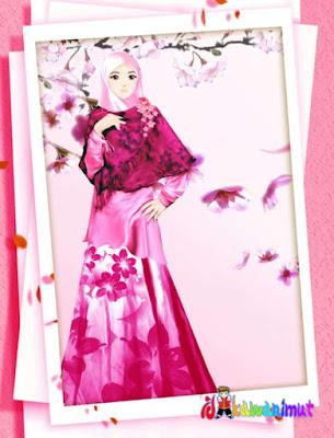 gambar kartun muslimah cantik memakai jilbab