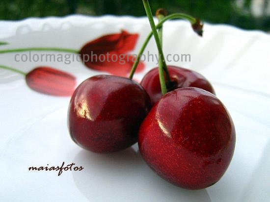 Sweet cherries on a plate-close-up